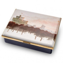 Windsor Castle by HRH The Prince of Wales Leather Lined Enamel Box LE100 (Special Order) | Gracious Style
