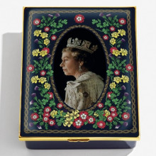 Her Majesty Queen Elizabeth II The Longest Reigning Monarch Leather Lined Enamel Box LE75 (Special Order) | Gracious Style