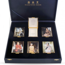 The Royal Family Her Majesty Queen Elizabeth II & His Royal Highness The Prince Philip, The Duke of Edinburgh THR 70th Wedding Anniversary Portraits by Stone Leather Lined Enamel Box Set LE70 (Special Order) | Gracious Style