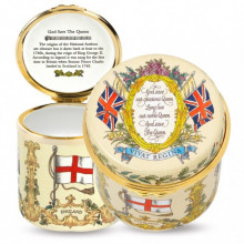 Her Majesty Queen Elizabeth II Vivat Regina Drum Ivory Enamel Box (Special Order) | Gracious Style