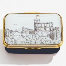 Iconic Great Britain Windsor Castle by HRH The Prince of Wales Leather Lined Enamel Box LE100 (Special Order) | Gracious Style