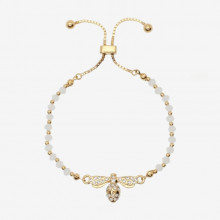 Bee Sparkle Beads Cream Gold Friendship Bangle | Gracious Style