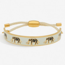 Elephant Motif Cream Gold 1cm Friendship Bangle | Gracious Style