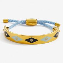 Sparkle Pale Blue Navy Gold 1cm Friendship Bangle | Gracious Style