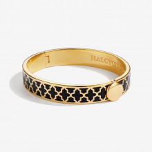 Agama Black Gold 1cm Hinged Bangle | Gracious Style