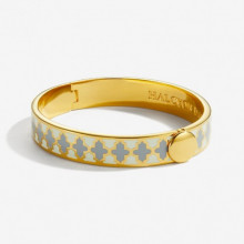 Agama Cream & Grey Gold 1cm Hinged Bangle | Gracious Style