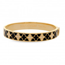 Agama Sparkle Black & Clear Gold 1cm Hinged Bangle | Gracious Style