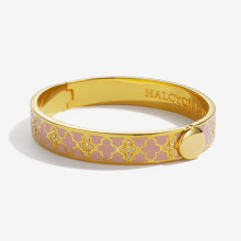 Agama Sparkle Pink & Clear Gold 1cm Hinged Bangle | Gracious Style