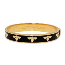Bee Black Gold 1cm Hinged Bangle | Gracious Style