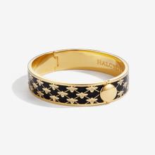 Bee Sparkle Trellis Black Gold 13mm Hinged Bangle | Gracious Style