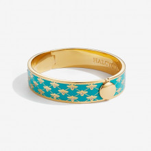 Bee Sparkle Trellis Turquoise Gold 13mm Hinged Bangle | Gracious Style