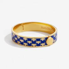 Bee Sparkle Trellis Deep Cobalt Gold 13mm Hinged Bangle | Gracious Style