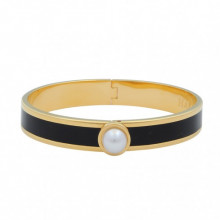 Cabochon Pearl Plain Black Gold 1cm Hinged Bangle | Gracious Style