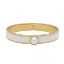 Cabochon Pearl Plain Cream Gold 1cm Hinged Bangle | Gracious Style