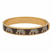 Elephant Black Gold 1cm Hinged Bangle | Gracious Style