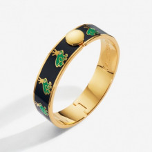 Frog Prince Sparkle Navy Green Gold 13mm Hinged Bangle | Gracious Style