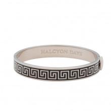 Greek Key Black Palladium 1cm Hinged Bangle | Gracious Style
