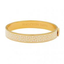 Greek Key Cream Gold 1cm Hinged Bangle | Gracious Style