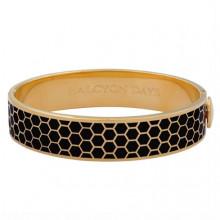 Honeycomb Black Gold 13mm Hinged Bangle | Gracious Style