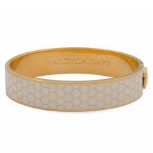Honeycomb Cream Gold 13mm Hinged Bangle | Gracious Style