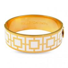 Maya Cream Gold 2cm Hinged Bangle | Gracious Style