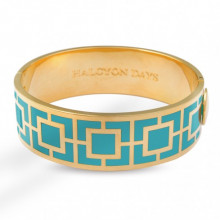 Maya Turquoise Gold 2cm Hinged Bangle | Gracious Style
