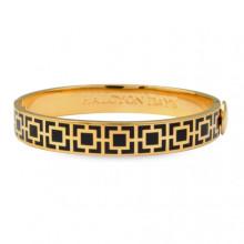 Mosaic Black Gold 1cm Hinged Bangle | Gracious Style