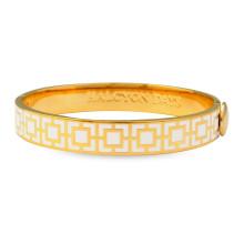 Mosaic Cream Gold 1cm Hinged Bangle | Gracious Style