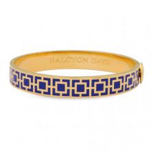 Mosaic Deep Cobalt Gold 1cm Hinged Bangle | Gracious Style