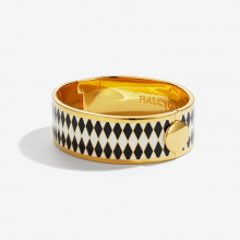 Parterre Black Cream Gold 19mm Hinged Bangle | Gracious Style