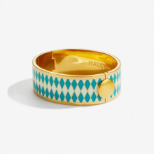 Parterre Turquoise Cream Gold 19mm Hinged Bangle | Gracious Style