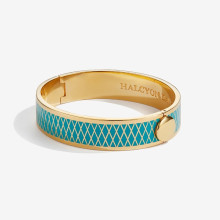 Parterre Turquoise Gold 13mm Hinged Bangle | Gracious Style