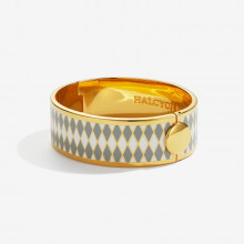 Parterre Grey Cream Gold 19mm Hinged Bangle | Gracious Style