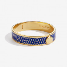 Parterre Deep Cobalt Gold 13mm Hinged Bangle | Gracious Style