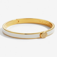 Skinny Plain Pave Button Cream Gold 6mm Hinged Bangle | Gracious Style