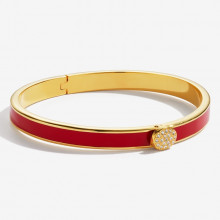Skinny Plain Pave Button Red Gold 6mm Hinged Bangle | Gracious Style