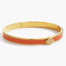 Skinny Plain Pave Button Orange Gold 6mm Hinged Bangle | Gracious Style