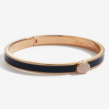 Skinny Plain Pave Button Navy Rose Gold 6mm Hinged Bangle | Gracious Style