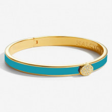 Skinny Plain Pave Button Turquoise Gold 6mm Hinged Bangle | Gracious Style