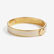 Salamander Cream Gold 1cm Hinged Bangle | Gracious Style