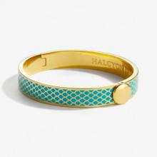 Salamander Turquoise Gold 1cm Hinged Bangle | Gracious Style