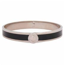 Sparkle Button Plain Black Palladium 1cm Hinged Bangle | Gracious Style
