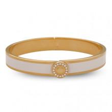 Sparkle Button Plain Cream Gold 1cm Hinged Bangle | Gracious Style