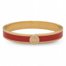 Sparkle Button Plain Red Gold 1cm Hinged Bangle | Gracious Style