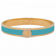 Sparkle Button Plain Turquoise Gold 1cm Hinged Bangle | Gracious Style