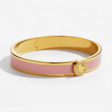 Sparkle Button Plain Pink Gold 1cm Hinged Bangle | Gracious Style