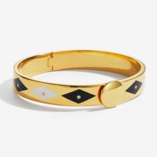 Sparkle Black Cream Gold 1cm Hinged Bangle | Gracious Style