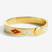Sparkle Red Cream Gold 1cm Hinged Bangle | Gracious Style