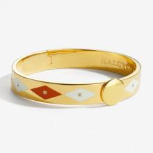 Sparkle Orange Cream Gold 1cm Hinged Bangle | Gracious Style