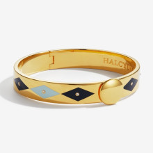 Sparkle Pale Blue Navy Gold 1cm Hinged Bangle | Gracious Style